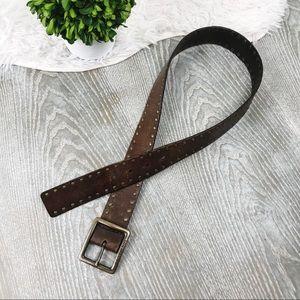 Calvin Klein 100% Leather Brown Studded Belt S